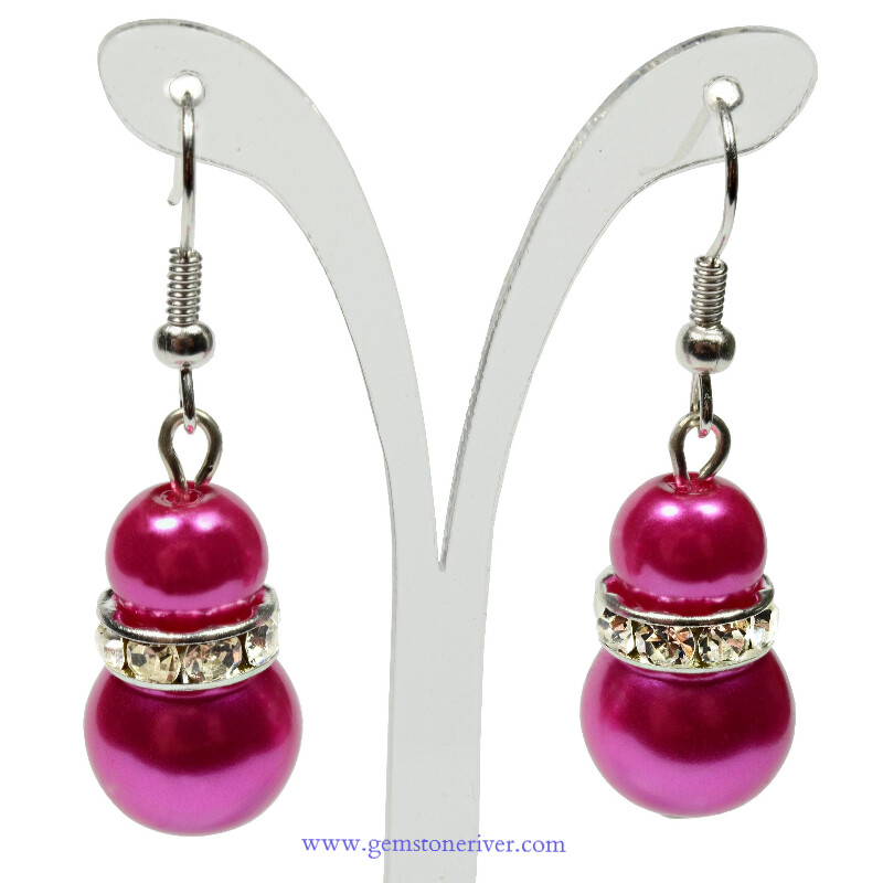 E38 - Cerise hot pink pearl sparkling drop earrings - Bride Bridesmaids Flowergirl  Prom Glam | Gemstoneriver® - Fizzy