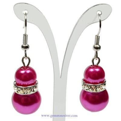 E38 - Cerise hot pink pearl sparkling drop earrings - Bride Bridesmaids Flowergirl  Prom Glam   Gemstoneriver® - Fizzy