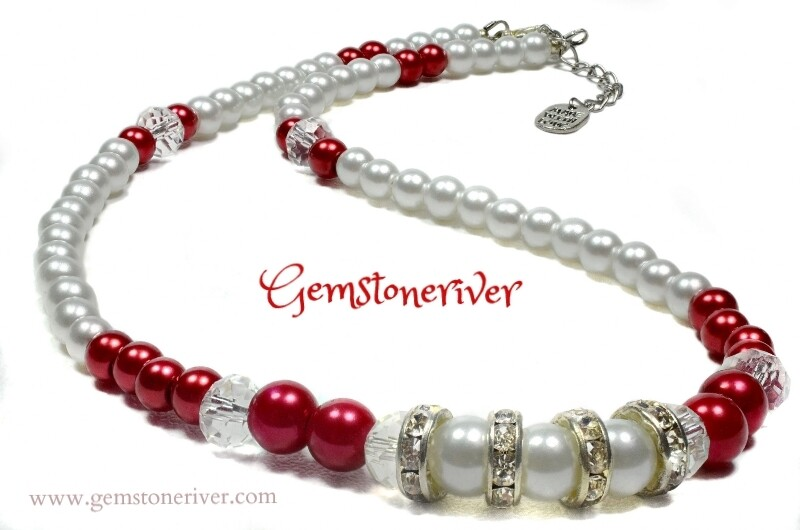 NB7 Clear Faceted Crystal White and Red Pearl Beaded Necklace Bracelet & Earrings - Jewellery Set - Ivanna | Gemstoneriver®