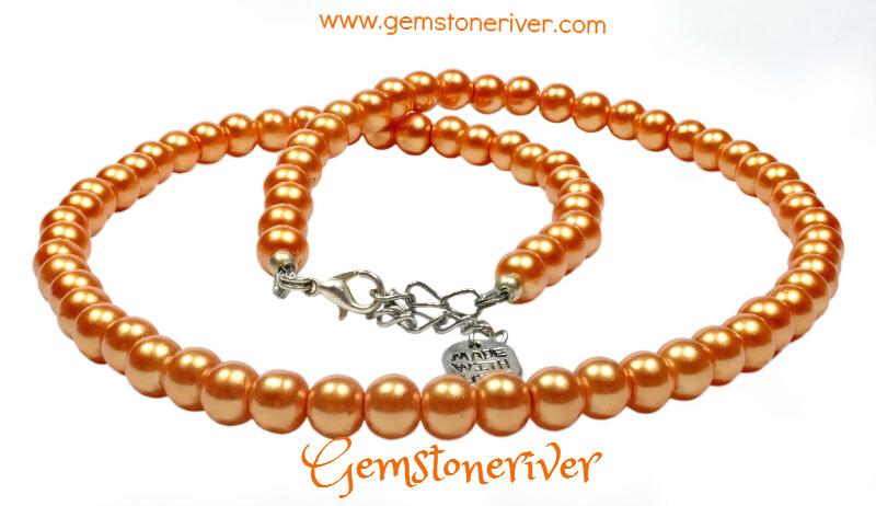 N206 Orange pearl necklace bracelet earrings set wedding Xmas cocktail party handmade UK | Gemstoneriver®
