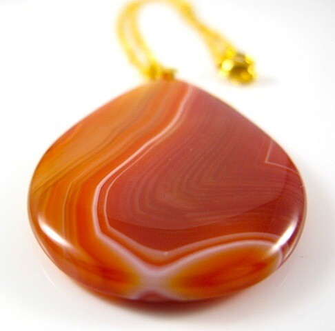 Gemstone Pendant Cream Burnt Orange Brown  White  Beige  Moonstone Unique Agate Gemstone Necklace - ONE OFF | Gemstoneriver®