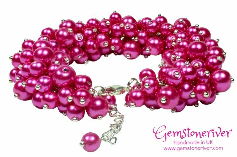 B14 Chunky Bold Pearl Cluster Statement Bracelet Cerise Hot Fuschia Pink Gorgeous Bridesmaids, Holiday, Wedding, Bridal, Prom Cocktail Gala Party