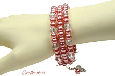 B40 Stylish Rose Crystal & Coral Pink Pearl Bracelet Earrings set