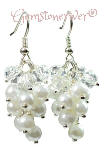 White Ivory Cream pearl & crystal cluster Statement Earrings Bride Bridesmaids Sparkling gifts