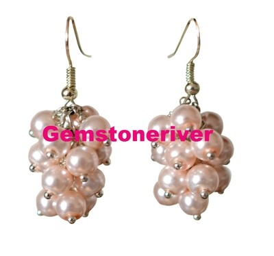 E114 Light Champagne Pink Pearl Earrings Cluster Chunky Bridal, Bridesmaids Wedding Pearls Prom Party Pearl Earrings