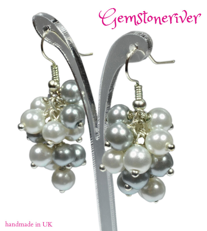 E115 White and Grey Pearl Cluster Dangling Earrings - MARILYN - Bridal Party, Bridesmaid Statement Unique Handmade in UK