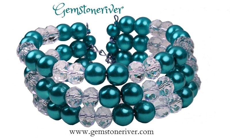 Crystal  & Teal Pearls  Multi-strand, Flexible Cuff Chunky Tier Bracelet & Earring Set, Bridesmaids, Summer, Party | Gemstoneriver®
