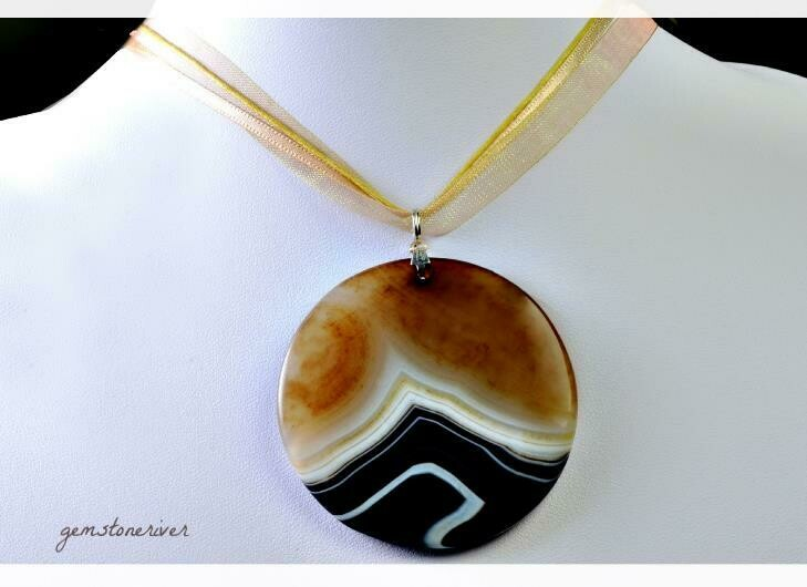Unique Gemstone Necklace Beige Chocolate Brown Amber White Black Taupe Rare Striated Jasper Agate