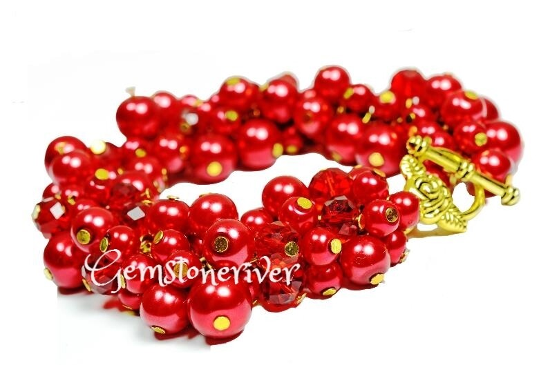 Red Berry Lustre Pearls & Red Fire Crystals Statement Chunky Designer Handmade Bracelet UK