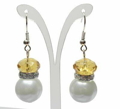 E106 Citrine Gold Amber Rhinestone Ivory Cream Pearl Earrings - Bridesmaid Bride Maid of Honour Beach Party Gemstoneriver UK