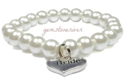 White Pearl Bracelet & Charms Bridesmaid Flower Girl Bride Gift