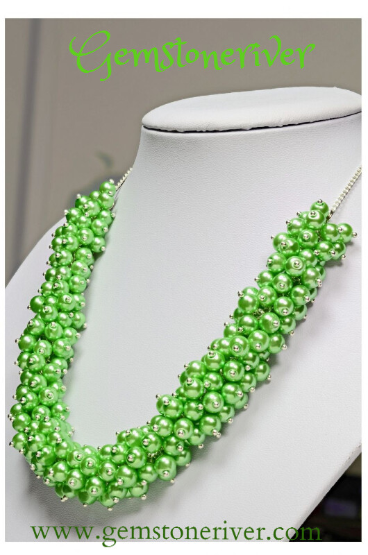 Green Chunky Bold Statement Pearl Cluster Necklace & EarringsSet -   Gemstoneriver® Wedding Bridesmaids Prom Beach Party Anniversary Designer Jewelry
