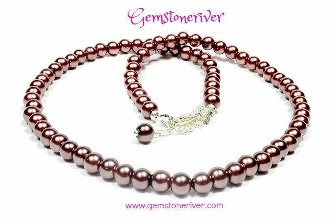 N169 Chocolate Brown Pearl Necklace & Earring Bridesmaids Flower Girl Set - Tyler | Gemstoneriver®UK