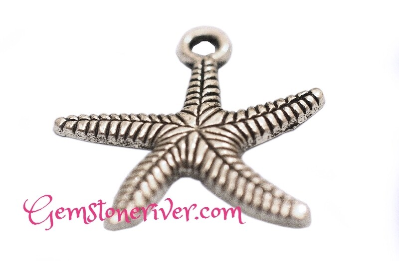 Starfish funky lucky silver charm or pendant
