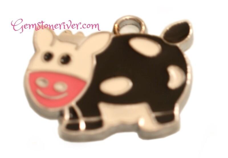 Cute Funky Happy Pink Cow Lucky Charm with Enamel Tibetan Silver Jewellery | Gemstoneriver®
