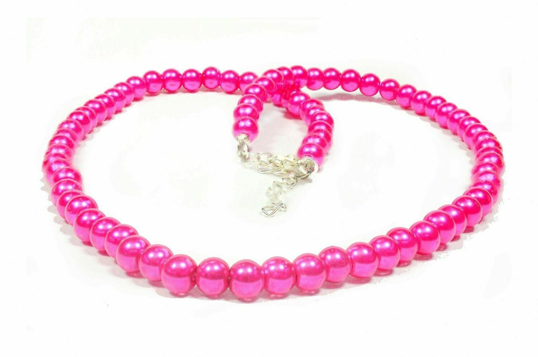 N144 SOLD cerise hot pink fuchsia neclace bracelet earrings - wedding beach holiday