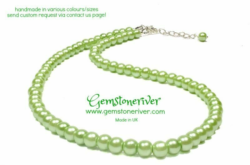 Lime Green Pearl Necklace & earrings Set Bridesmaids Office Cocktail Prom Gifts