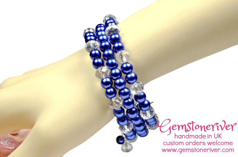Crystal Quartz & Navy Blue Pearls Multi-strand flexible Cuff Bracelet  set
