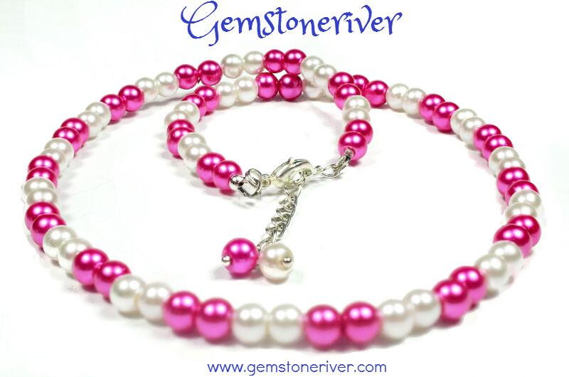 3pc Cerise Hot pink fuchsia Ivory Cream Pearl Necklace Set