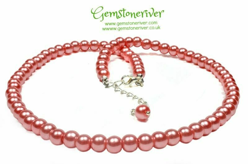 N208 Coral Pink Necklace Bracelet Earrings Set |  Bridesmaids Office Cocktail Prom jewellery Gemstoneriver®