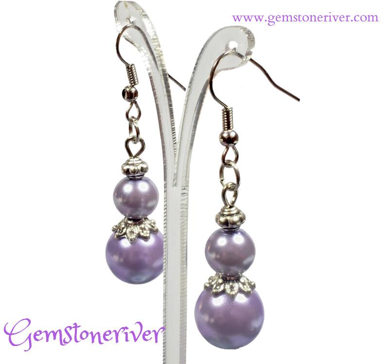 Purple Lilac Pearl Bali Silver Dangle Earrings SIMONE- Bridesmaid Flower Girl Bridal Wedding Bridesmaids Gemstoneriver® UK