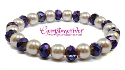 B259 Stylish Taupe Mocha Brown Pearl & Sparkling ultra-violet purple crystal Bracelet Christmas Stocking Filler Flower Girl