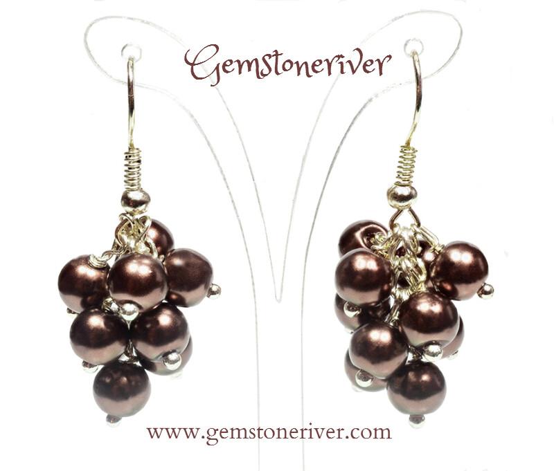 Stylish chocolate Brown Pearl Mini Cluster Earrings