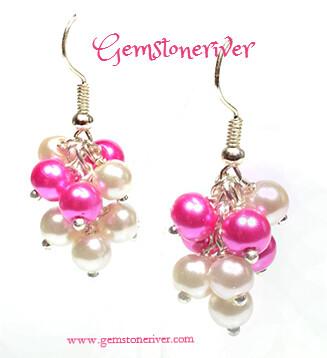 Cerise Hot Pink Fuchsia & Ivory cream Mini Cluster Earrings - wedding pearls- Bridesmaid, Romantic jewellery UK - Berry