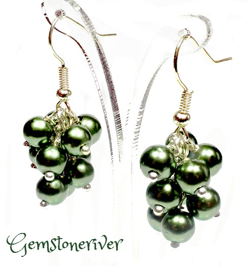 Olive Green Pearl Mini Cluster Earrings - wedding party