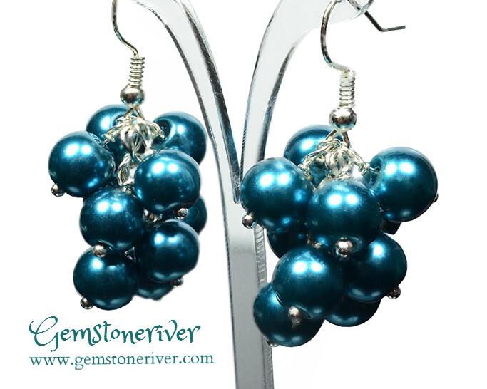 E101- Teal pearl statement cluster chunky earrings - CARRIE - Bride Bridesmaids Flower Girl Wedding Prom Party Gemstoneriver®