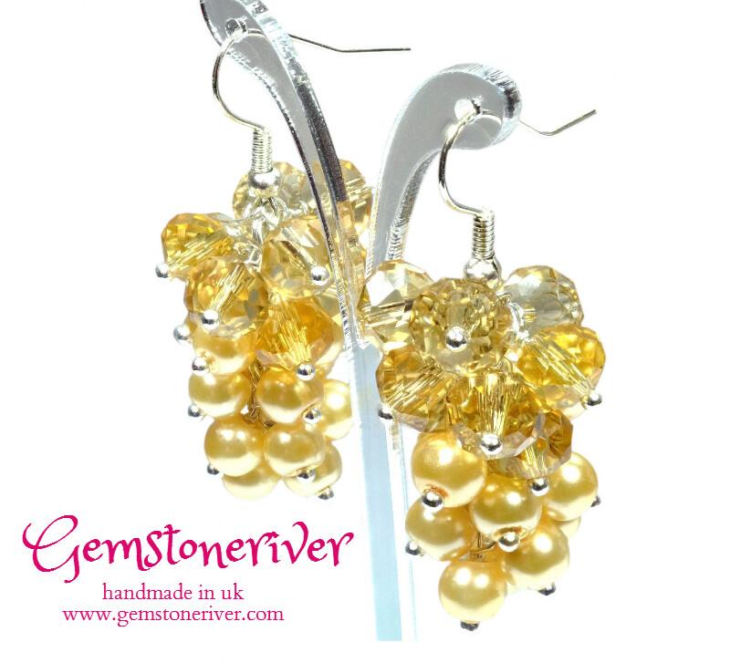 Yellow lemon pearl & citrine quartz crystal cluster drop dangle earrings