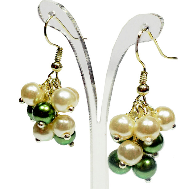 E277 Ivory Cream & Olive Green Pearl Mini Cluster Earrings - wedding Bridal Party, Bridesmaid, Romantic jewellery gift UK