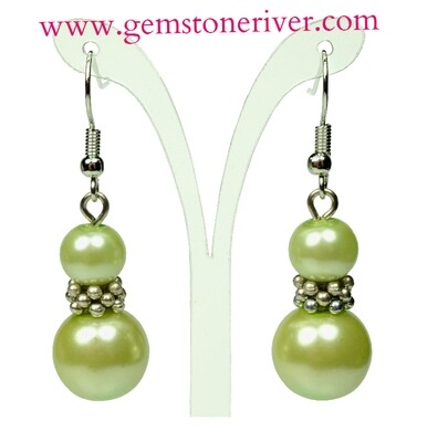 Green Pearl Silver Drop Dangle Earrings - Bridesmaids Prom Dinner Gala Party Bridesmaid Office Jewellery - Janna
