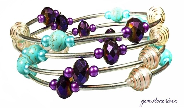 Turquoise, Baby Pink Pearls Spiral Beads and Ultra-violet  Faceted Crystal Multi-Stranded Flexi Bracelet - Kariba
