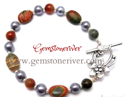 Picasso Jasper Gemstone & Charcoal Grey Pearls Bracelet Bridesmaids Holiday Unique Jewellery | Gemstoneriver