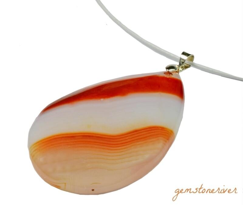 Cream White opaline & carnelian orange brown necklace gemstone Jasper Agate Unique Necklace Pendant OOAK Gemstoneriver® Bridesmaid