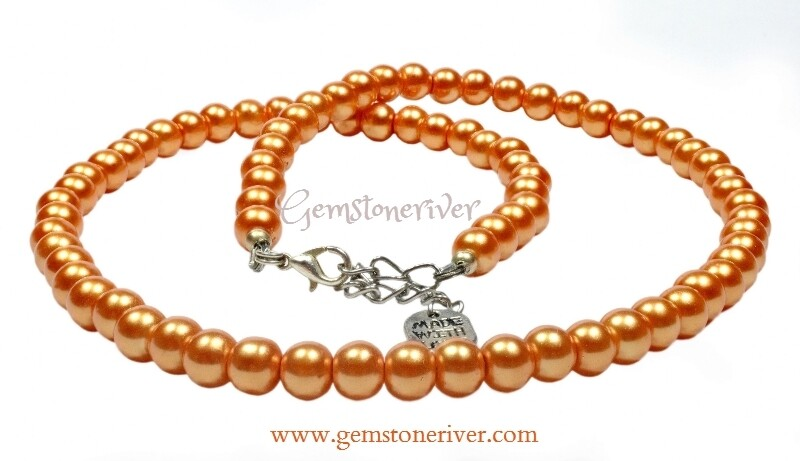 N207 Orange pearl necklace earrings set  Bridesmaids Prom Summer Xmas Holiday Party Gift Gemstoneriver