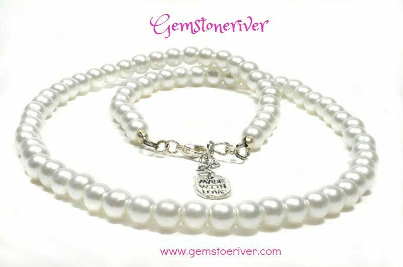 N66 White Pearl Necklace Bracelet & Earrings Set - Gemstoneriver® Bridal Bridesmaids Wedding Prom Office Everyday Party Jewelry