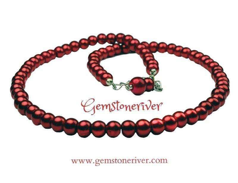 Red hot pearl Necklace, Bracelet & Earrings SET | Romantic Bridesmaids Wedding