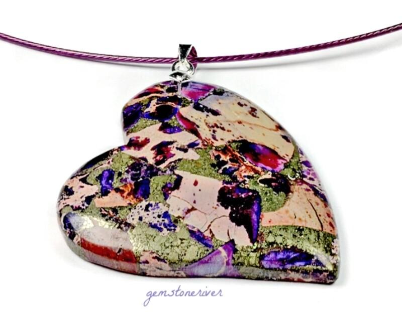 G224 Sold Gemstone Heart Shape - Juliet - Leopard Jasper Agate Funky, Rose Purple, Beige, Berry, Party Boho Minimalist Statement Necklace