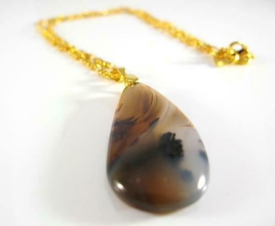 Dendritic Opal Agate Jasper gemstone necklace unique ONE of a kind Romantic pendant