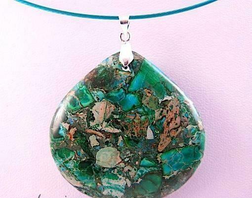 Unique sea green statement aquamarine olive jasper agate gemstone necklace unique pendant | Gemstoneriver wedding unusual design