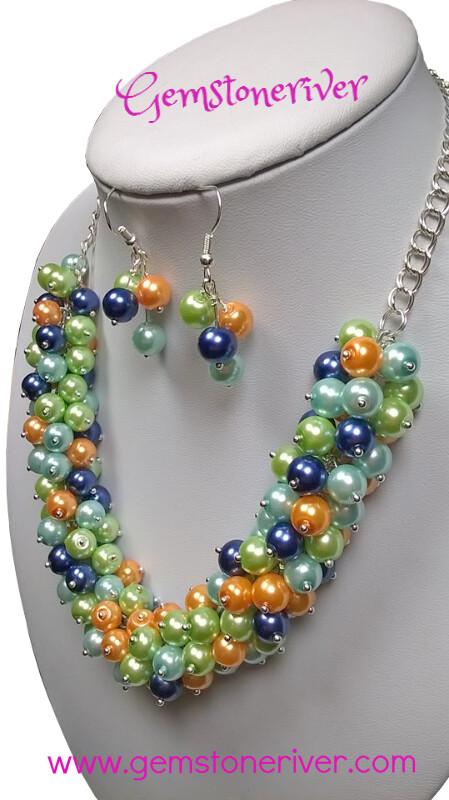 Blue Orange Mint Green & Light Blue Pearl Cluster Necklace Earrings