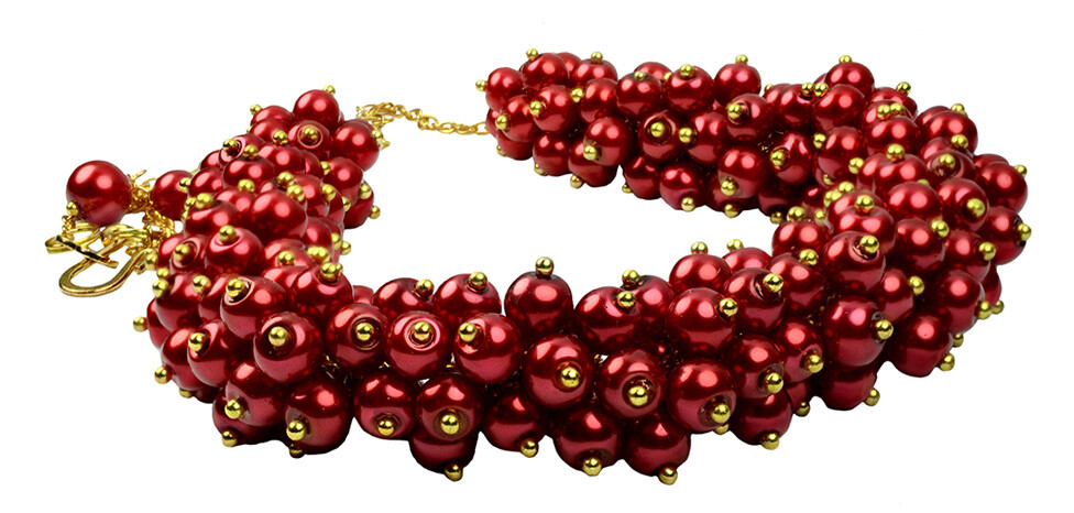 Red Hot Pearl Cluster Statement Necklace - Bridesmaids, Romantic, Prom, Halloween, Party, Chic, Boho, Chunky Bib Designer Style - Scarlet