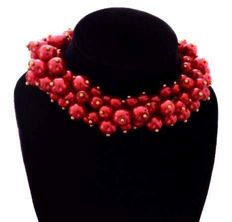 Red Hot Statement Pearl Cluster Bracelet Earrings set