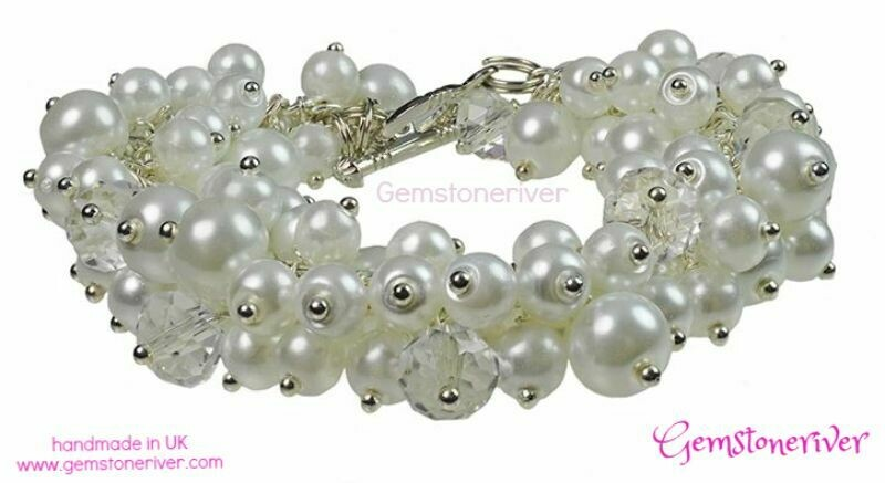 B8 Chunky Bold Cluster Statement White Sparkly Crystal bracelet
