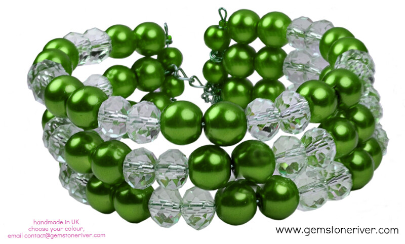 Crystal & Olive Green Pearl - ORLA - Multi-strand Statement Chunky Cuff Bracelet Bridesmaids Wedding Prom Evening Summer Party | Gemstoneriver®