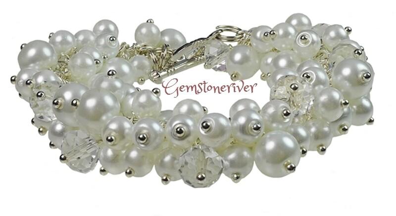 Custom order for SL - White Pearls & Clear Crystal Quartz Bracelet