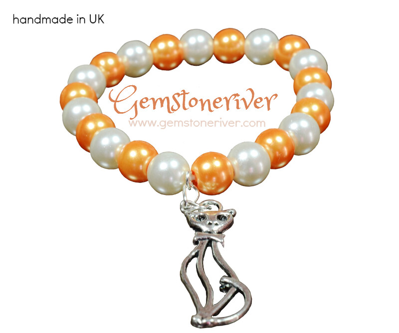 Peach orange Cream & silver Cat Charm - Stretch Stackable Bridesmaid, Flower Girl, Unique Jewellery