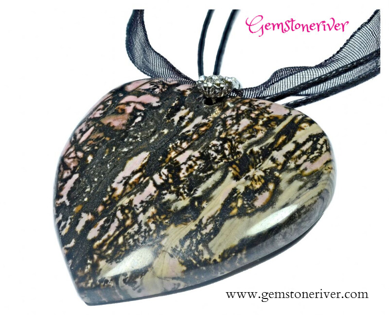 Pink & Black Rhodonite Gemstone Necklace Pendant - bridesmaids prom Cocktail Holiday Jewellery